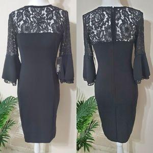 Lulu's Black Lace Bell Sleeve Sheath Dress Medium
